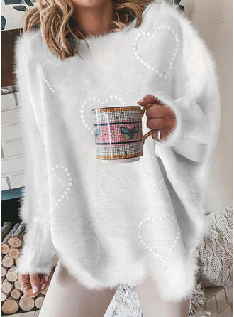 Heart Sequins Round Neck Casual Sweaters