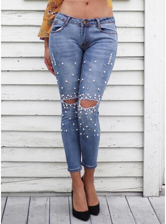 Solid Denim Cropped Casual Pearl Denim & Jeans