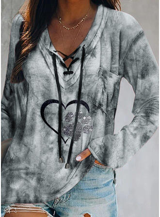 Sequins Tie Dye Heart Lace-up V-Neck Long Sleeves Casual Blouses