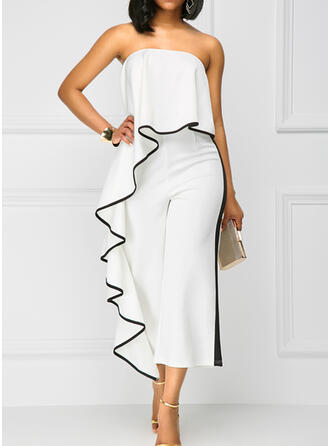 Solid Strapless Sleeveless Elegant Jumpsuit