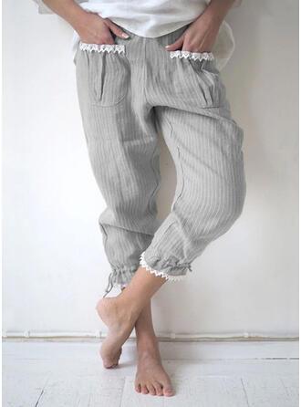 Pockets Shirred Plus Size Casual Plain Lounge Pants