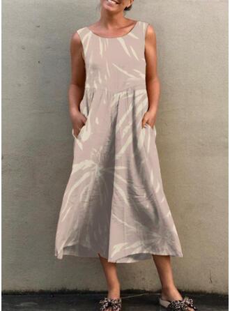 Print Round Neck Sleeveless Casual Jumpsuit