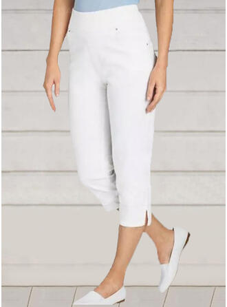 Solid Plus Size Casual Plain Pants