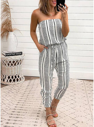 Striped Off the Shoulder Sleeveless Casual Vacation Jumpsuit