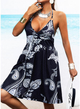 Print/Backless Sleeveless A-line Knee Length Casual/Boho/Vacation Skater Dresses