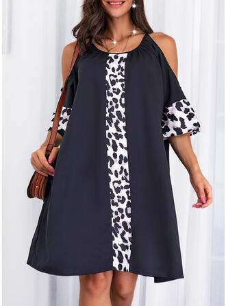 Print/Leopard 1/2 Sleeves Cold Shoulder Sleeve Shift Knee Length Casual Tunic Dresses