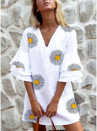 Print/Floral 3/4 Sleeves/Flare Sleeves Shift Above Knee Casual Tunic Dresses