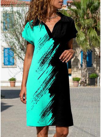 Color Block Short Sleeves Shift Knee Length Casual Dresses