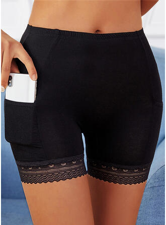 Solid Lace Above Knee Casual Pocket Pants Shorts Leggings