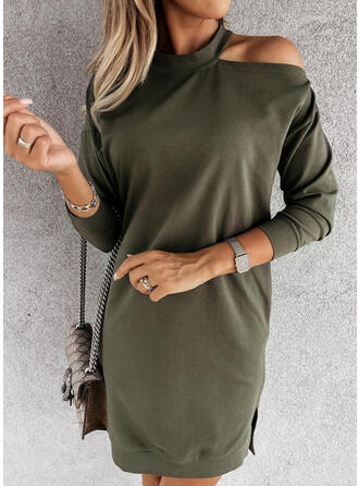 Solid Long Sleeves Cold Shoulder Sleeve Shift Above Knee Casual Dresses