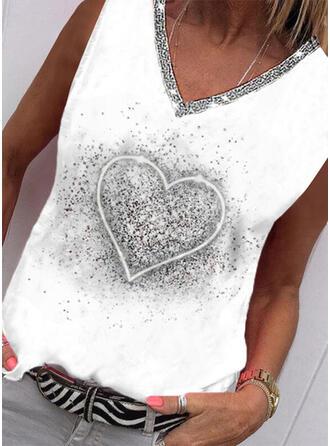 Heart Print Sequins V-Neck Sleeveless Tank Tops