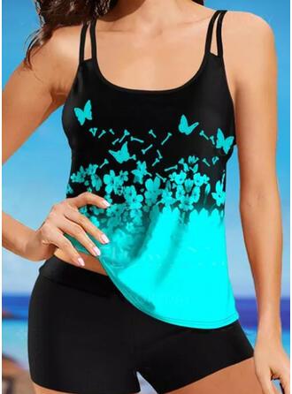 Animal Print Strap U-Neck Sports Plus Size Casual Tankinis Swimsuits