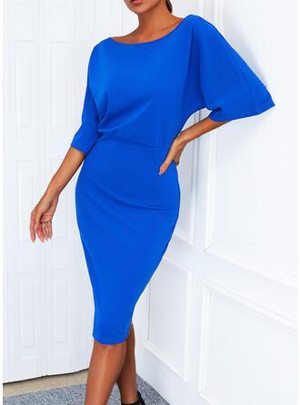 Solid 1/2 Sleeves Sheath Knee Length Elegant Dresses