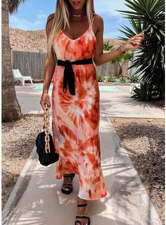 Tie Dye Sleeveless A-line Vacation Maxi Dresses