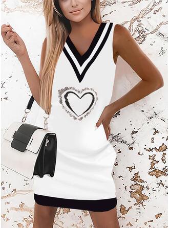 Print/Striped/Heart Sleeveless Shift Above Knee Elegant Dresses