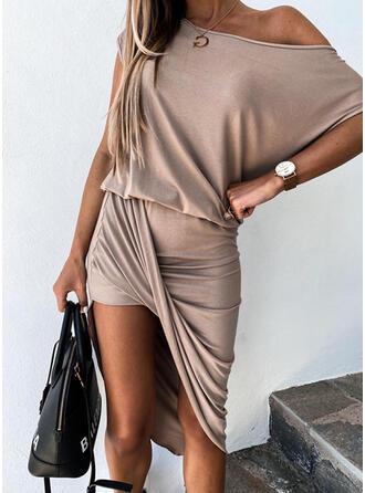 Solid Short Sleeves Asymmetrical Casual Midi Dresses