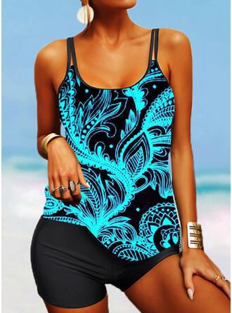 Print Strap U-Neck Attractive Casual Tankinis Swimsuits