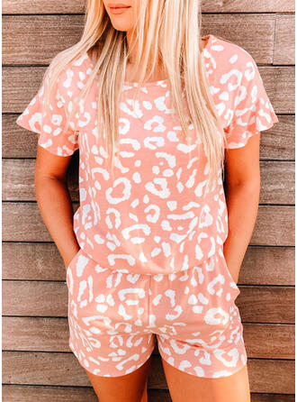 Leopard Round Neck Short Sleeves Casual Romper