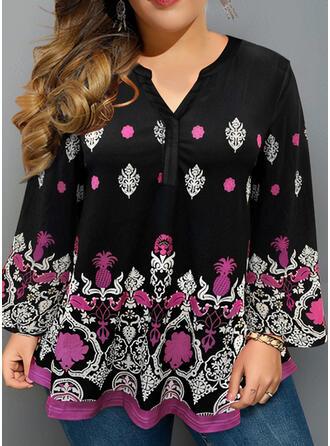 Floral Print V-Neck Long Sleeves Plus Size Casual Plus Size Blouses