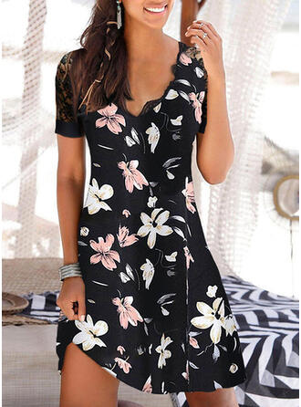 Lace/Print/Floral Short Sleeves Sheath Above Knee Casual/Vacation Dresses