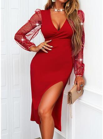 Solid Long Sleeves Puff Sleeve Sheath Elegant Midi Dresses
