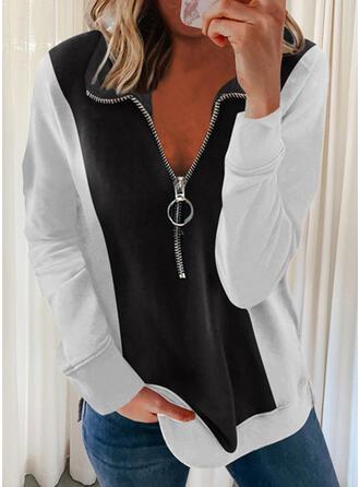 Print Color Block Lapel Long Sleeves Sweatshirt