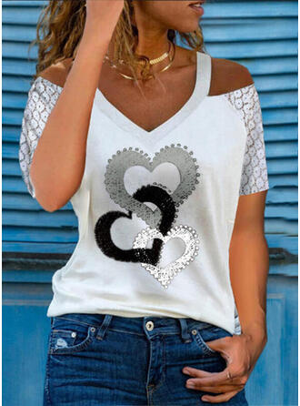 Print Lace Heart Cold Shoulder Short Sleeves Casual Blouses