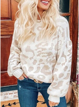 Leopard Round Neck Casual Knit Tops