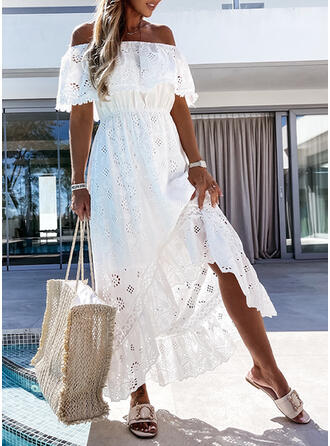 Solid Short Sleeves A-line Skater Casual Maxi Dresses