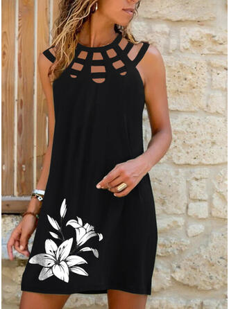 Print/Floral/Hollow-out Sleeveless Shift Above Knee Casual Dresses