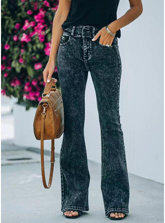 Solid Long Casual Denim & Jeans