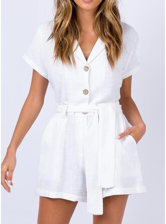 Solid V-Neck Short Sleeves Elegant fresh Romper