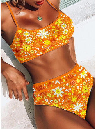 Floral Tropical Print Strap U-Neck Eye-catching Boho Bikinis Swimsuits