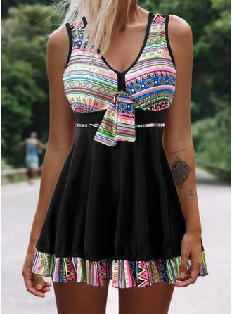 Splice color Knotted Strap V-Neck Boho Swimdresses Swimsuits