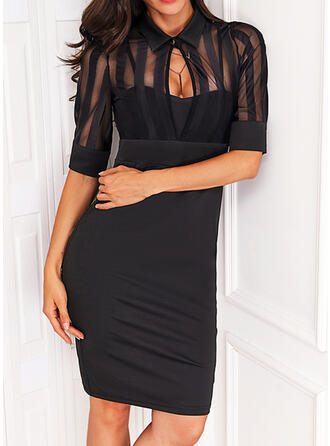 Solid 1/2 Sleeves Sheath Above Knee Little Black/Elegant Dresses
