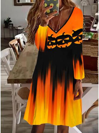 Halloween Print Long Sleeves Shift Knee Length Party Tunic Dresses
