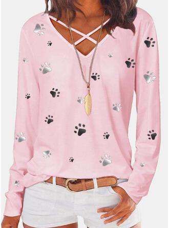 Animal Print V-Neck Long Sleeves Casual Blouses