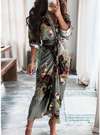 Long Sleeves Sheath Casual Maxi Dresses