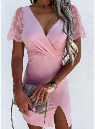 Lace/Solid Short Sleeves Bodycon Above Knee Elegant Dresses