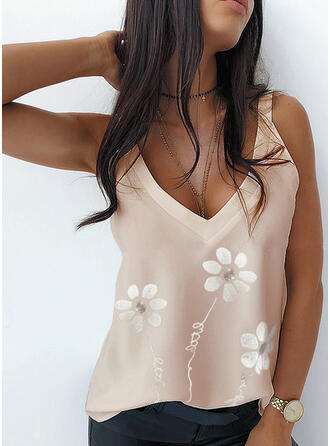 Floral Print Letter Strap Sleeveless Tank Tops