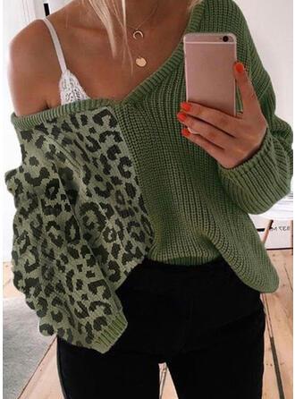 Color Block Leopard V-Neck Off the Shoulder Casual Sweaters