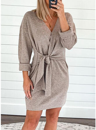 Solid Long Sleeves Mini Casual Dresses