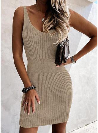 Solid/Backless Sleeveless Bodycon Above Knee Elegant Dresses