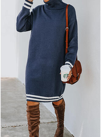 Striped High Neck Casual Sweater Dress