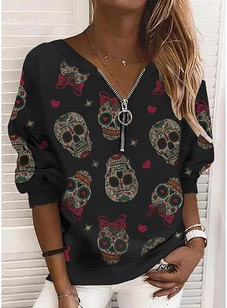 Halloween Print Heart Skull head V-Neck Long Sleeves Sweatshirt
