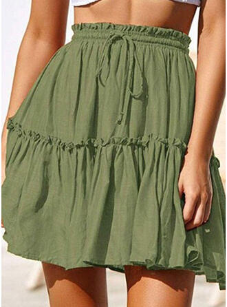 Polyester Plain Above Knee A-Line Skirts