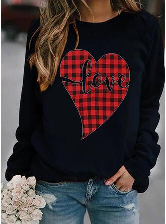 Print Heart Plaid Letter Round Neck Long Sleeves Sweatshirt