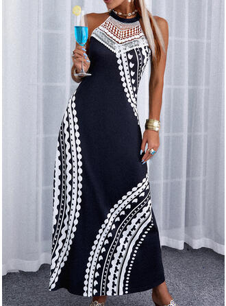 Lace/Print Sleeveless A-line Skater Casual/Vacation Maxi Dresses