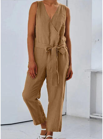 Solid V-Neck Sleeveless Casual Vintage Jumpsuit