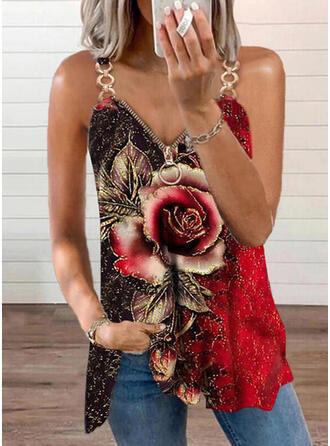 Floral Print Strap Sleeveless Tank Tops